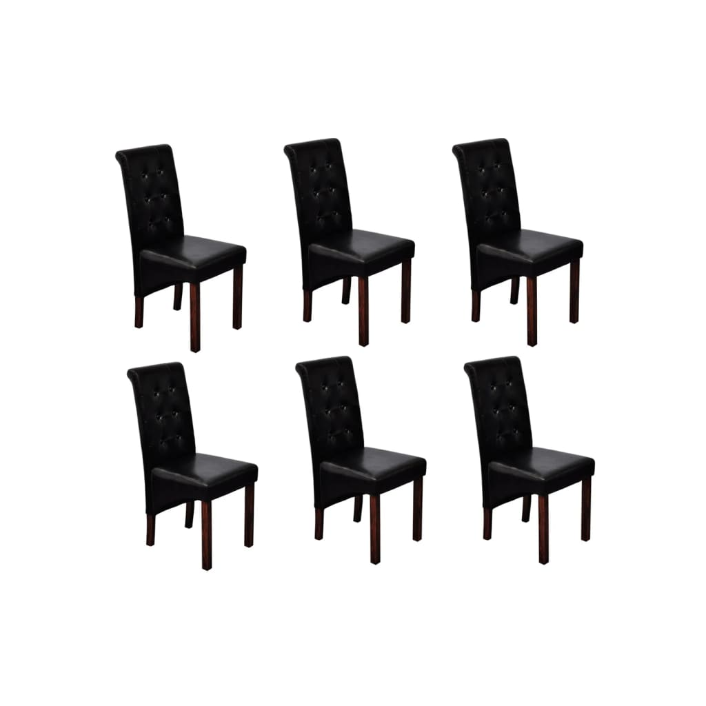 acheter chaise en simili cuir antique noir lot de 6 pas. Black Bedroom Furniture Sets. Home Design Ideas
