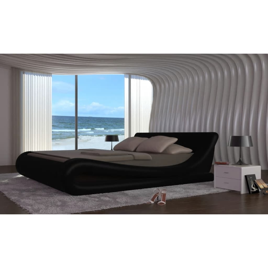 acheter lit en cuir wave 180 200 cm noir pas cher. Black Bedroom Furniture Sets. Home Design Ideas
