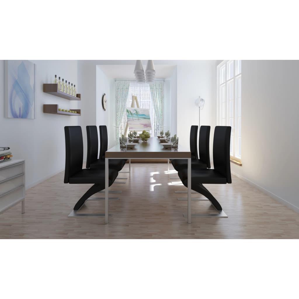 Vidaxl 6 pz sedie per sala da pranzo nere for Sedie per pranzo