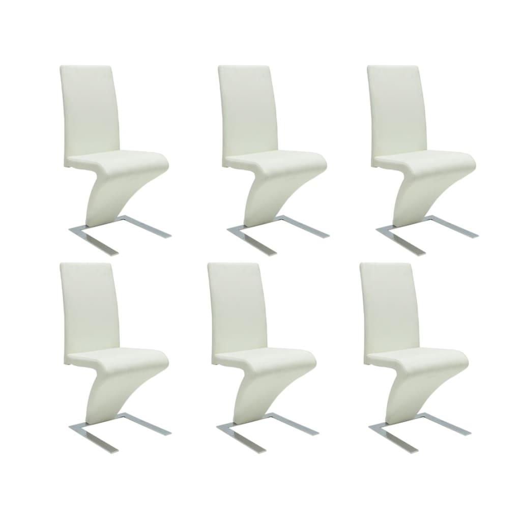 vidaXL Białe krzesła jadalniane x6 nietypowy kształt