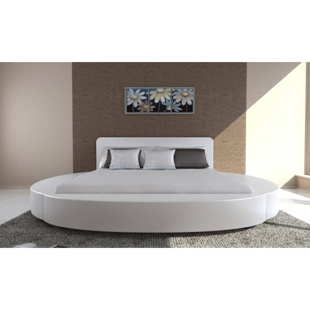 der kunstleder bett 180 x 200 cm mit matratze wei online shop. Black Bedroom Furniture Sets. Home Design Ideas