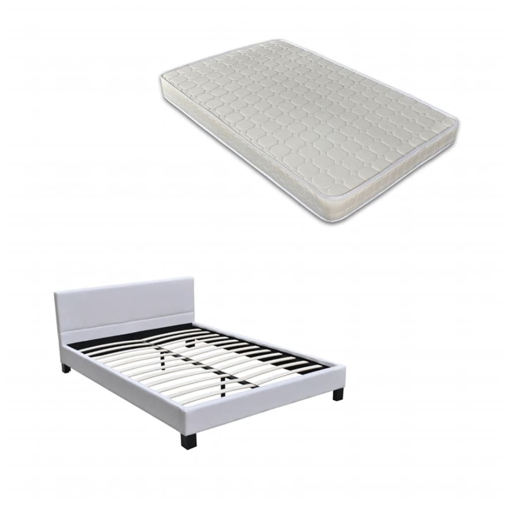acheter lit en cuir noir avec matelas 140 x 200 pas cher. Black Bedroom Furniture Sets. Home Design Ideas