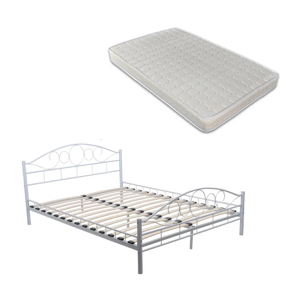 der metallbett mit matratze 140 cm x 200 cm creme online shop. Black Bedroom Furniture Sets. Home Design Ideas