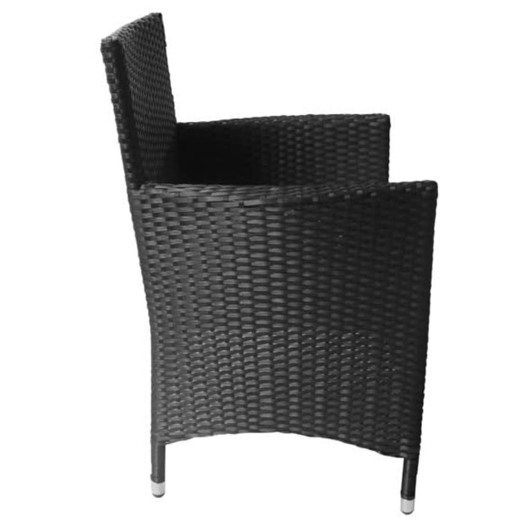 Black poly rattan garden furniture set 4 seats www for Rattan garden furniture