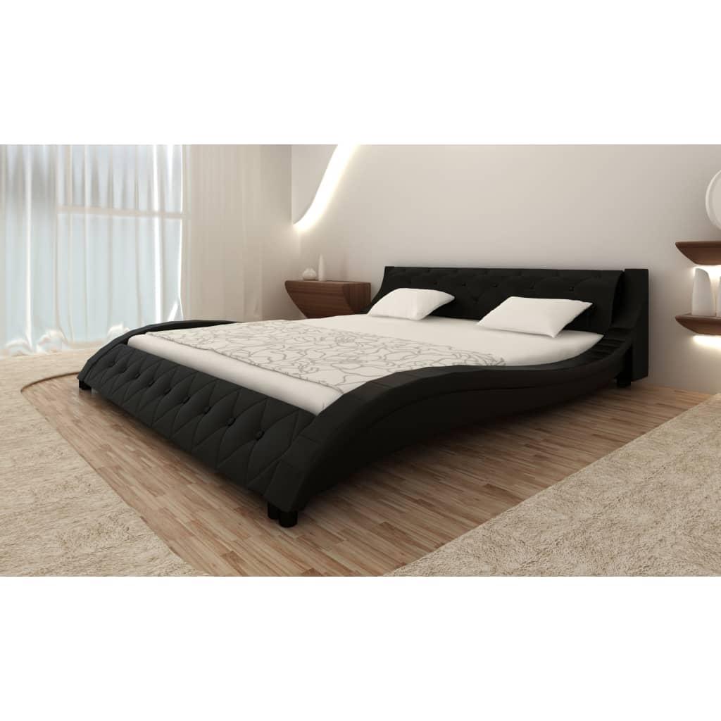 acheter lit en cuir 180 x 200 cm noir avec matelas pas cher. Black Bedroom Furniture Sets. Home Design Ideas