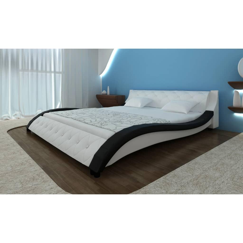 acheter lit en cuir avec matelas 180 x 200 cm 240284 240013 pas cher. Black Bedroom Furniture Sets. Home Design Ideas