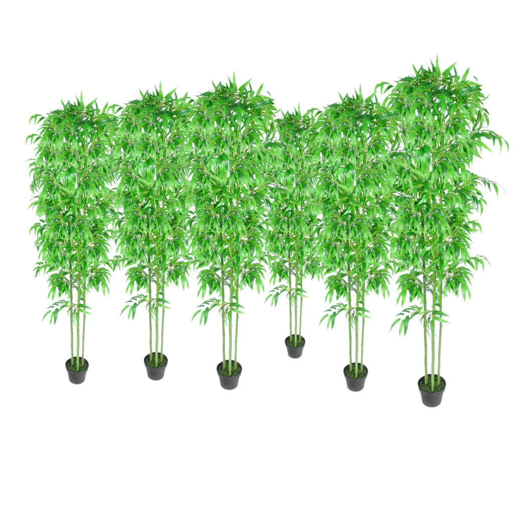 Bamboo artificial plants home decor set of 6 240017x for Artificial plants for decoration
