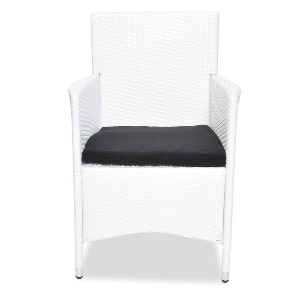 Vidaxl conjunto blanco de muebles de jard n de poli rat n for Conjunto muebles de jardin