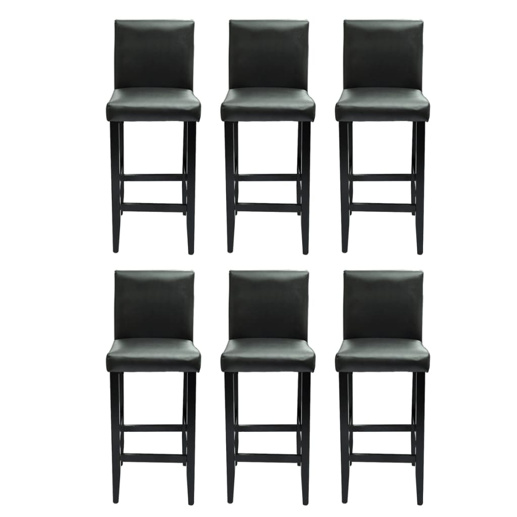 acheter lot de 6 tabourets de bar cuir artificiel noir pas cher. Black Bedroom Furniture Sets. Home Design Ideas