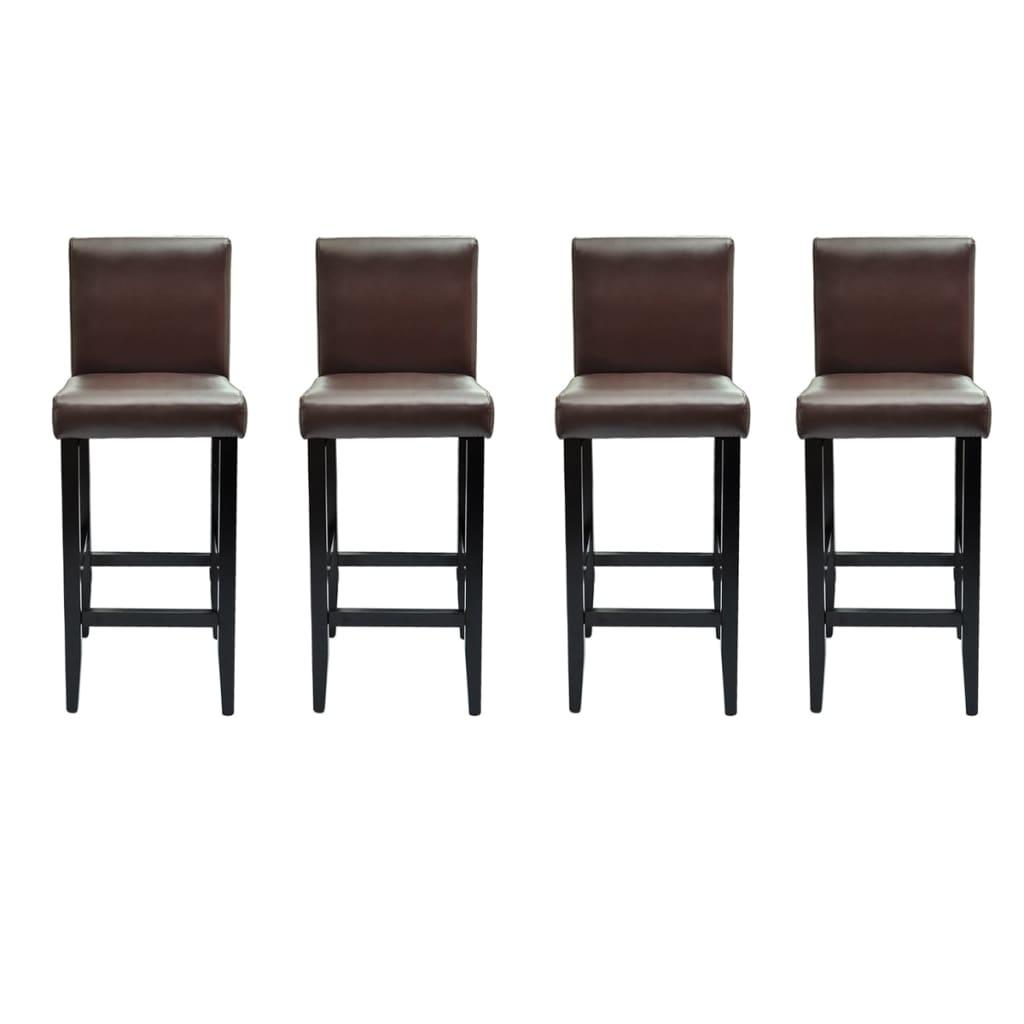 acheter lot de 4 tabourets de bar cuir artificiel marron pas cher. Black Bedroom Furniture Sets. Home Design Ideas