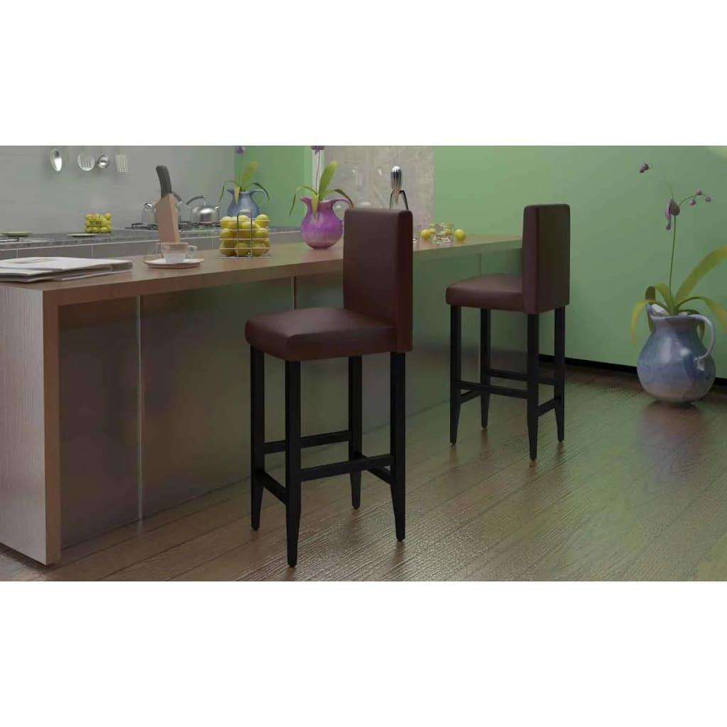 barhocker mit lehne 6 st ck kunstleder braun g nstig kaufen. Black Bedroom Furniture Sets. Home Design Ideas