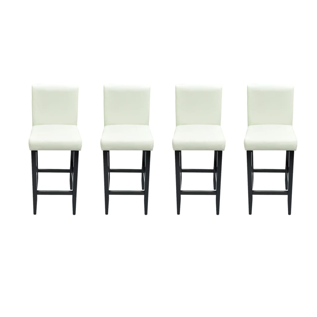 acheter lot de 4 tabourets de bar cuir artificiel blanc pas cher. Black Bedroom Furniture Sets. Home Design Ideas
