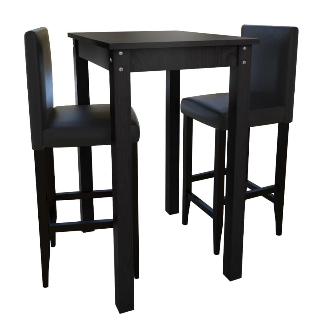 bartisch stehtisch mit 2 barhocker barstuhl holz essgruppe design schwarz 160726 ebay. Black Bedroom Furniture Sets. Home Design Ideas