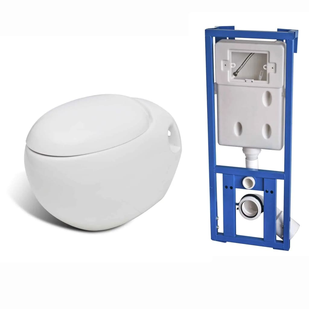 Vidaxl co uk new wall mounted toilet set egg design white