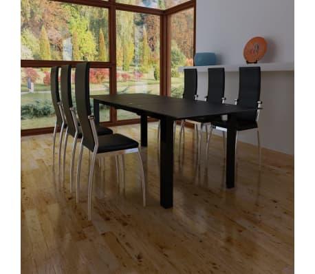 glastisch esstisch erweiterbar tisch set k chentisch 6 esszimmer st hle schwarz kunstleder. Black Bedroom Furniture Sets. Home Design Ideas
