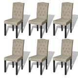 Set of 6 Antique Dining Chairs Beige
