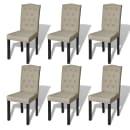 Lot de 6 chaises de salle à manger salon beige