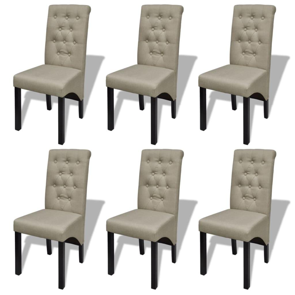 vidaXL Esszimmerstühle 6 Stk. Stoff Beige