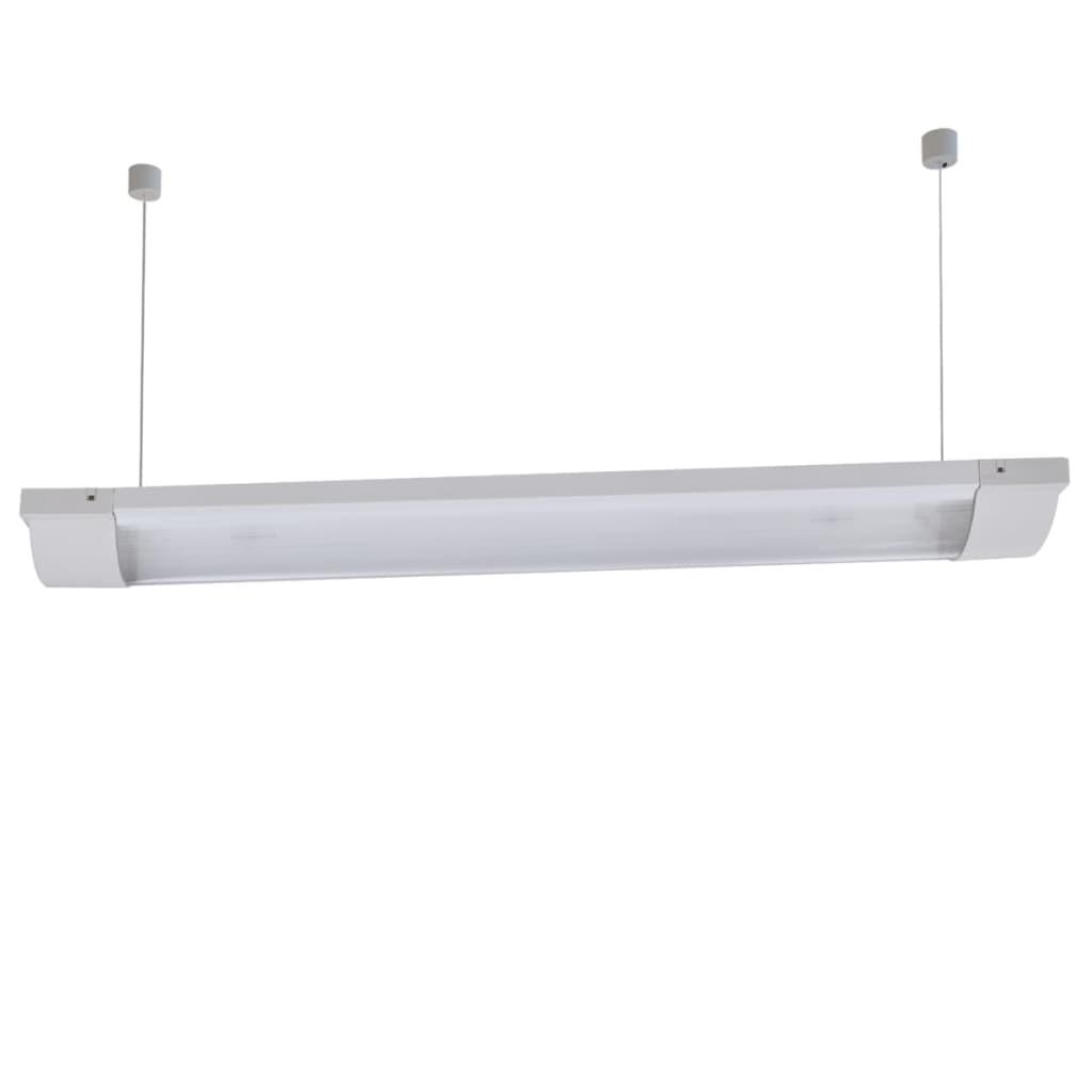2 lamp 18w t8 fluorescent light fixture with milk top. Black Bedroom Furniture Sets. Home Design Ideas