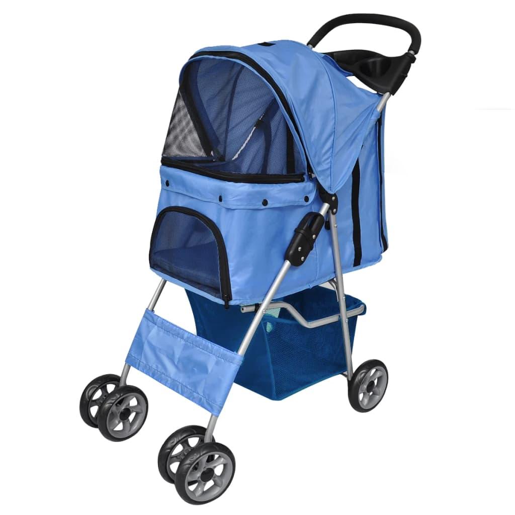 Vidaxl Co Uk New Blue Folding Pet Stroller Dog Cat
