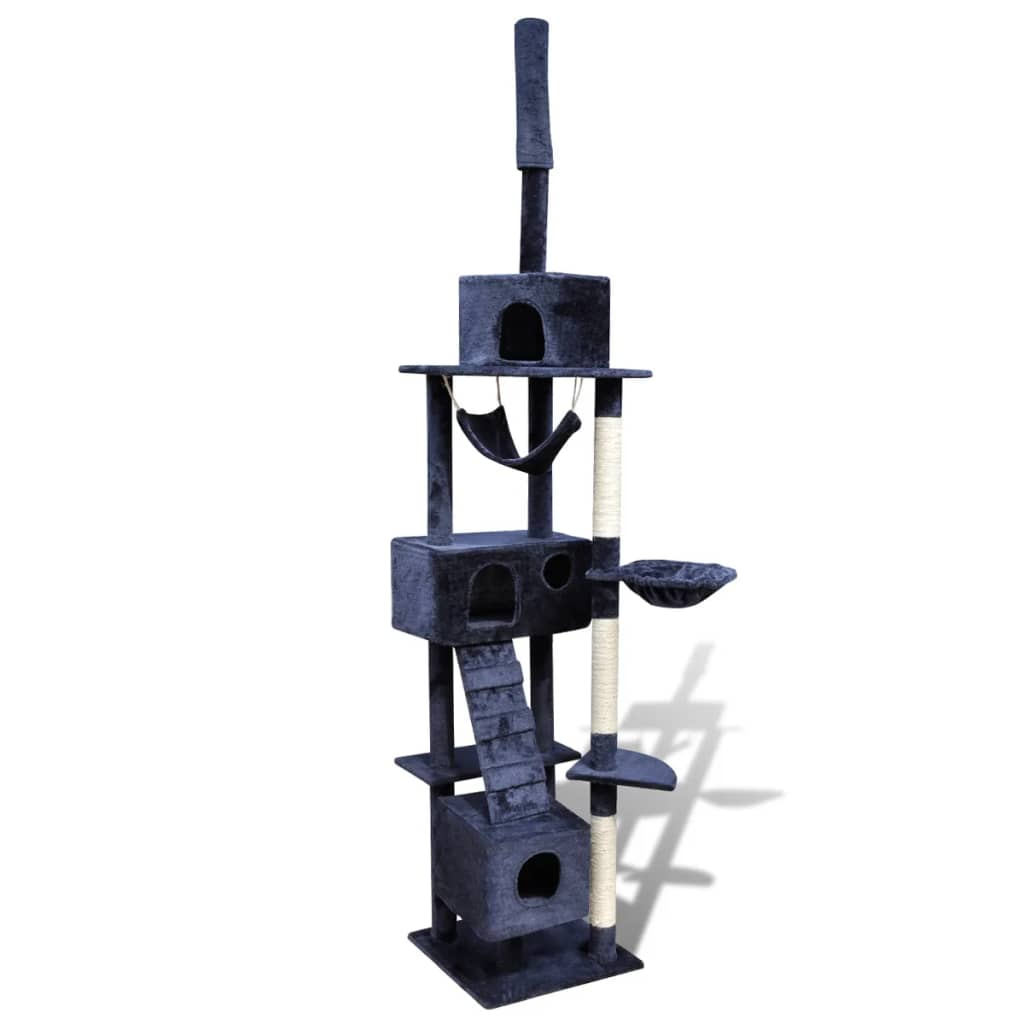 vidaXL Cat Tree Scratching Post 220 – 240 cm 3 Condos Dark Blue