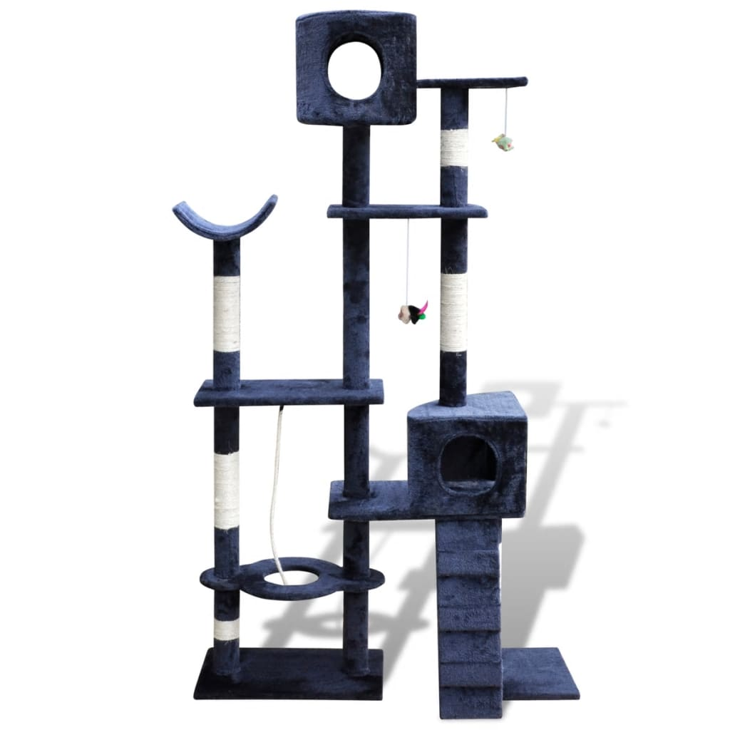 vidaXL Cat Tree Scratching Post 175 cm 2 Condos Dark Blue