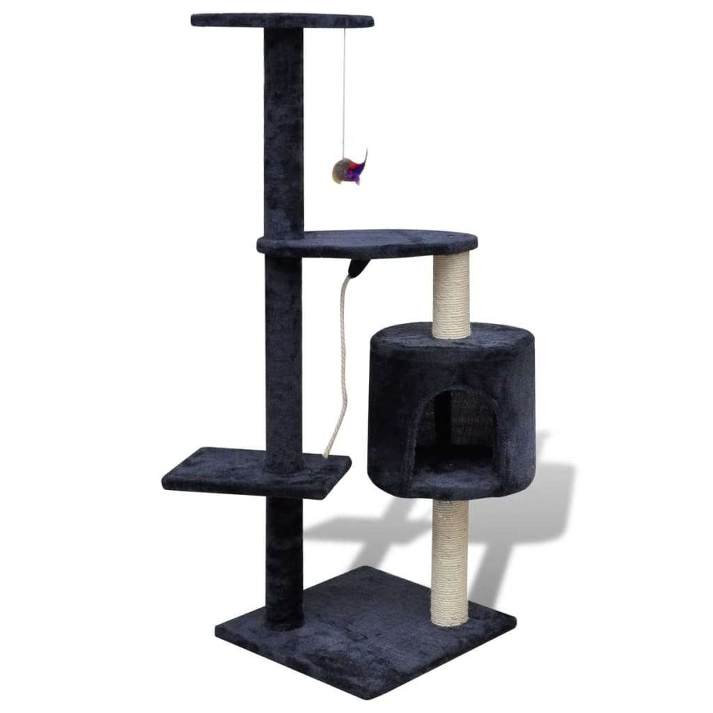 vidaXL Cat Tree Scratching Post 114 cm 1 Condo Dark Blue