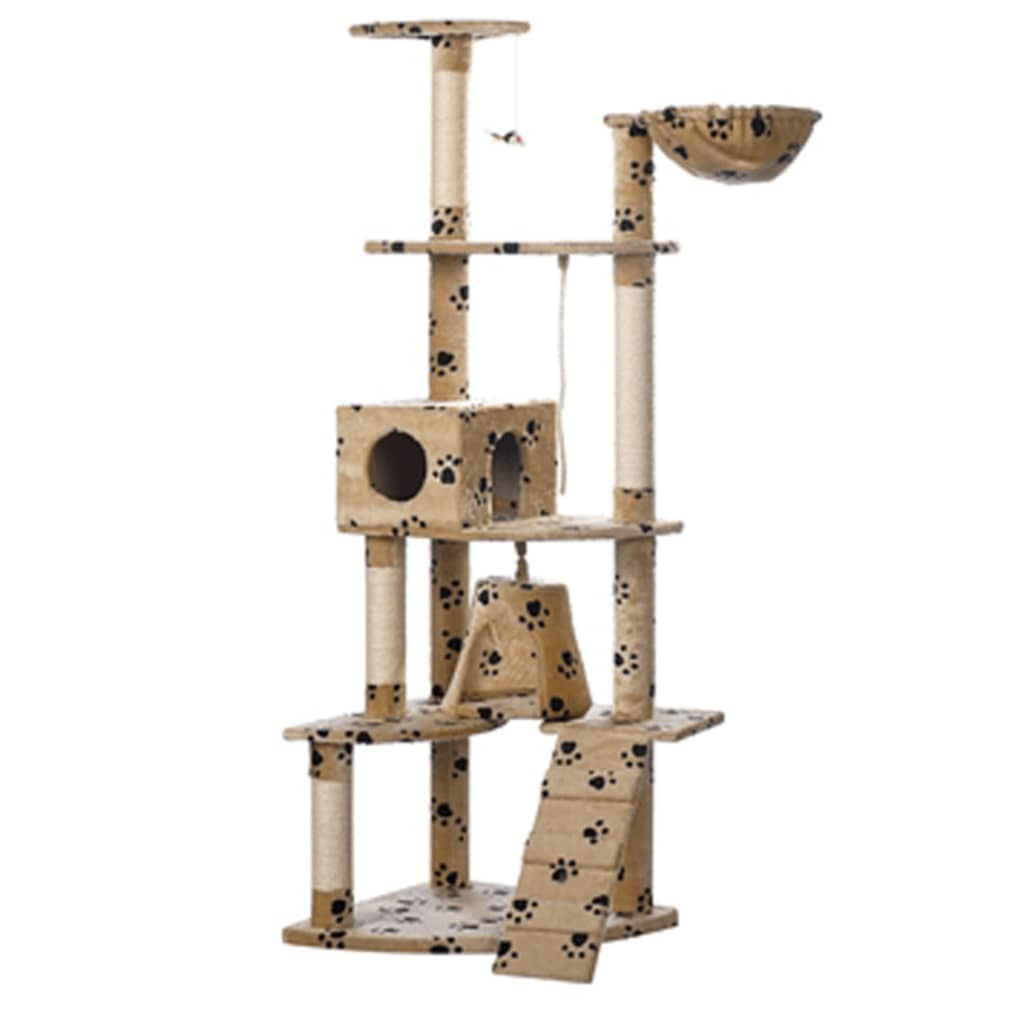 vidaXL Cat Play Tree 191 cm Beige with Paw Prints