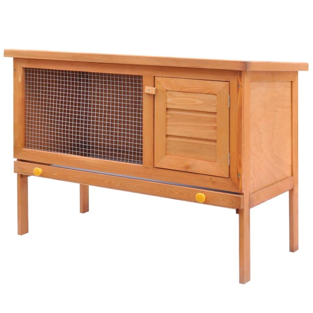 Cage clapier ext rieur en bois pour lapins 1 tage for Cage lapin exterieur