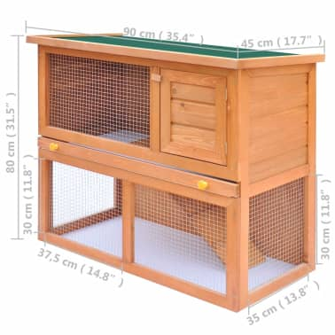 Outdoor Rabbit Hutch Small Animal House Pet Cage 1 Door Wood[8/8]