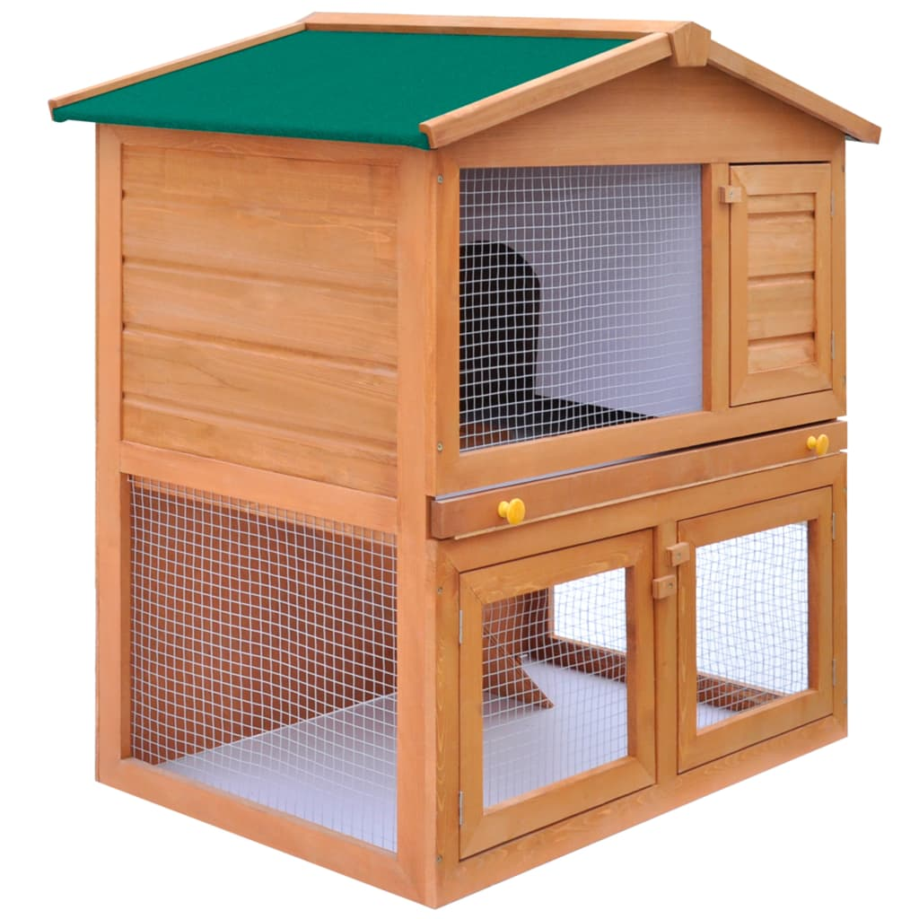 Outdoor rabbit hutch small animal house pet cage 3 doors for 2 rabbit hutch