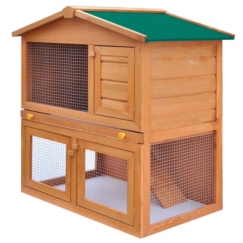 Outdoor rabbit hutch small animal house pet cage 3 doors for What is a rabbit hutch