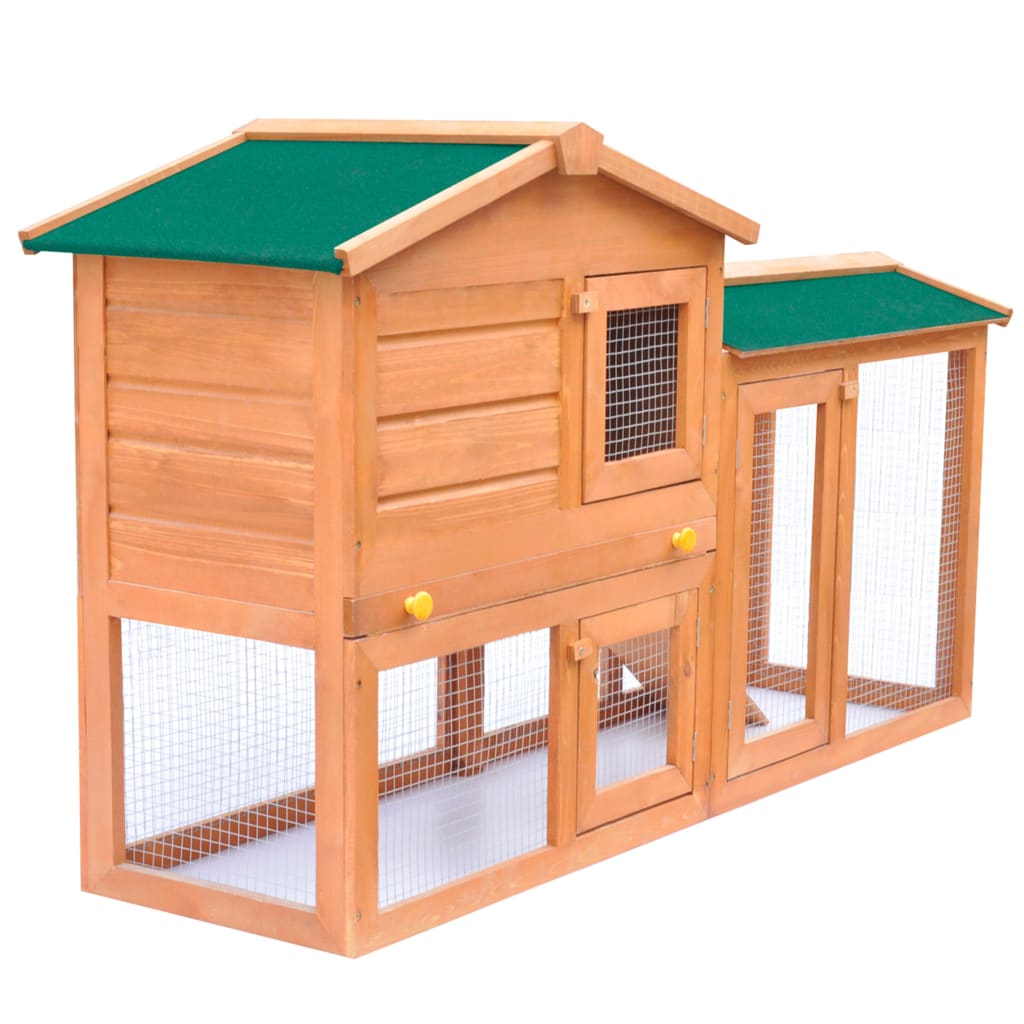 Outdoor large rabbit hutch small animal house pet cage for Outdoor bunny hutch