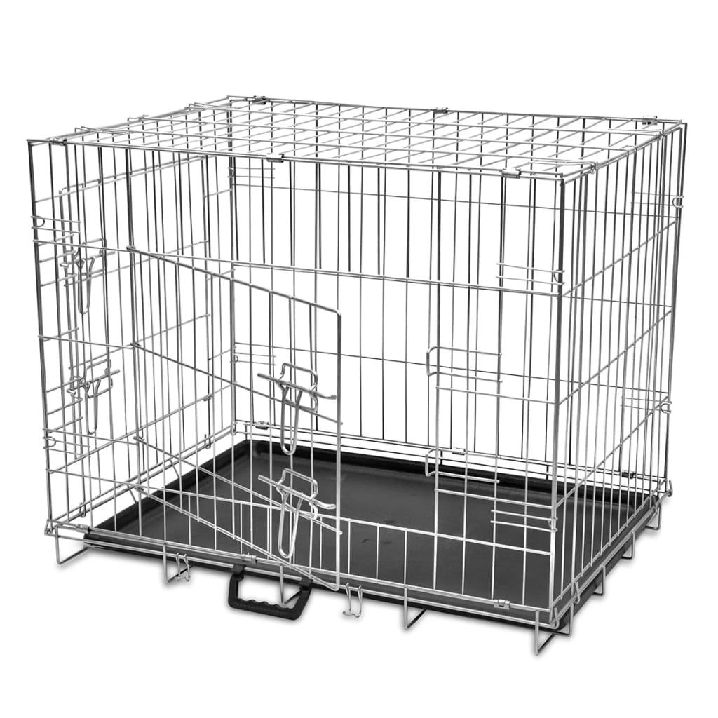 vidaXL Összecsukható fém kutyaketrec L