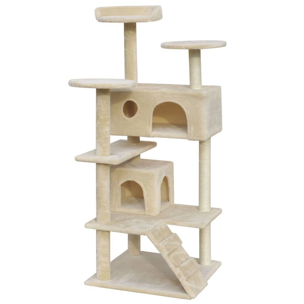 vidaXL Cat Tree Scratching Post 130 cm 2 Houses Beige