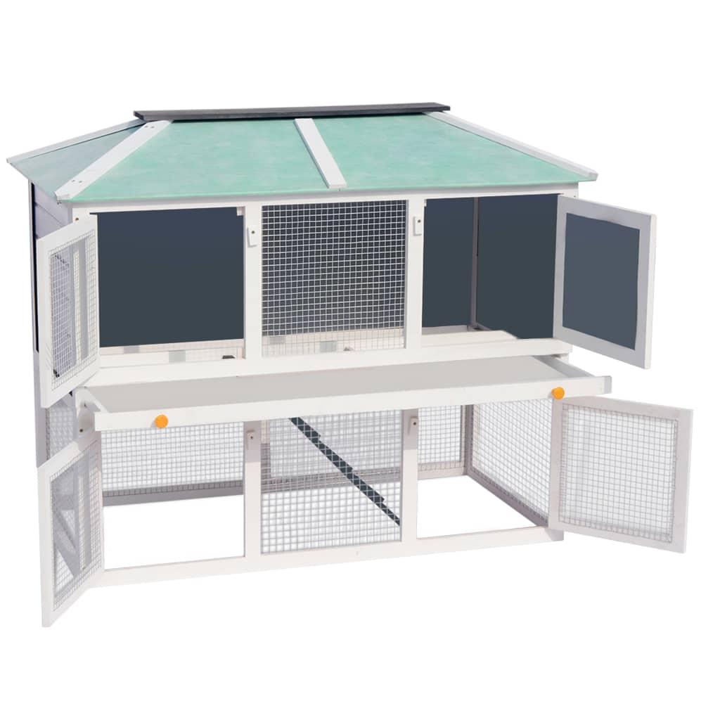 Vidaxl gabbia in legno a due piani per conigli for Bloccare i piani domestici