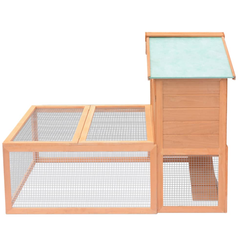Vidaxl animal rabbit cage outdoor run wood for Outdoor rabbit hutch kits