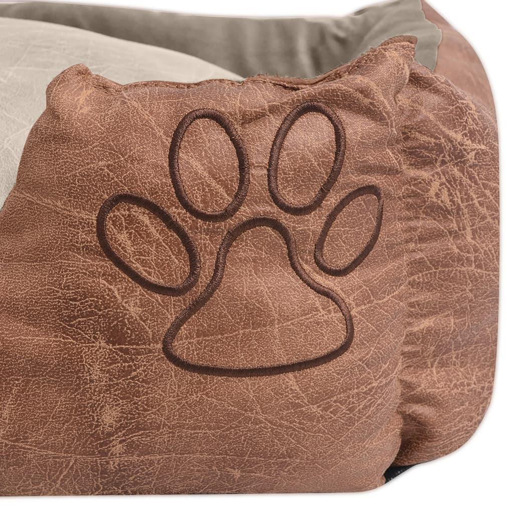 acheter vidaxl lit pour chiens avec coussin cuir artificiel pu taille xl beige pas cher. Black Bedroom Furniture Sets. Home Design Ideas