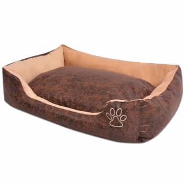 acheter vidaxl lit pour chiens avec coussin cuir artificiel pu taille m marron pas cher. Black Bedroom Furniture Sets. Home Design Ideas