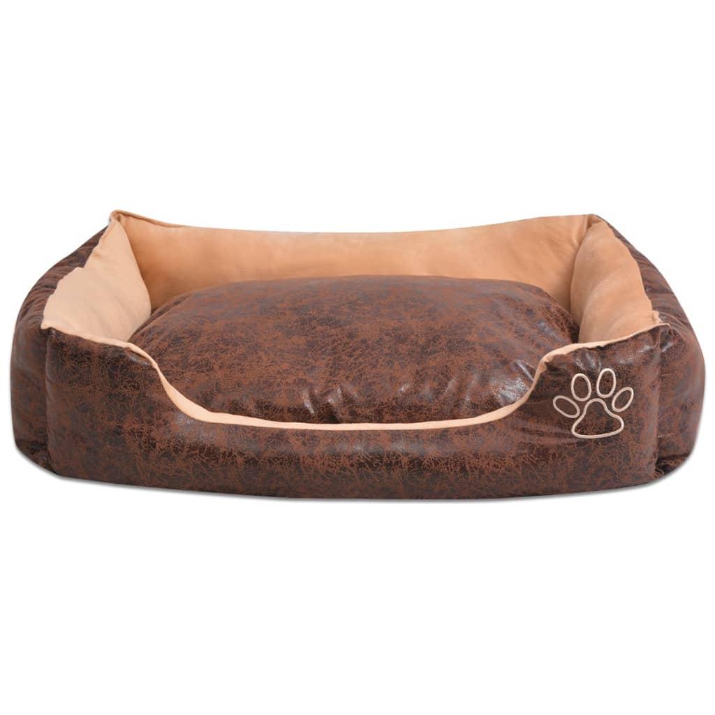 acheter vidaxl lit pour chiens avec coussin cuir artificiel pu taille xxl marron pas cher. Black Bedroom Furniture Sets. Home Design Ideas