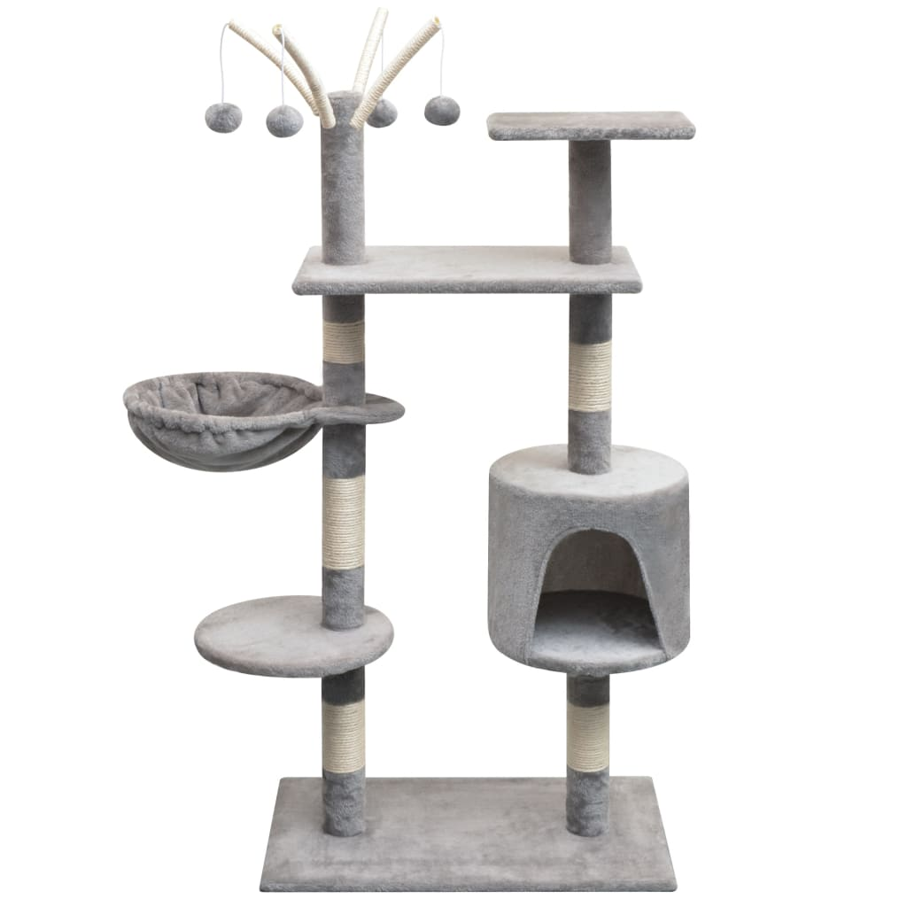 vidaXL szürke macskabútor szizál kaparófákkal 125 cm