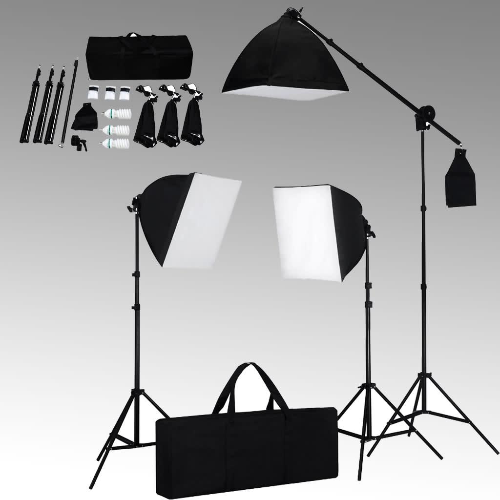 vidaxl studioset met 3 fotolampen statief softbox online kopen. Black Bedroom Furniture Sets. Home Design Ideas