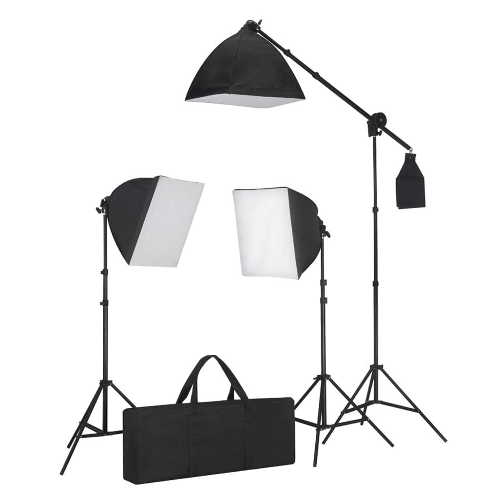 vidaXL Stúdió felszerelés 3 fotólámpa állvánnyal és softbox-szal
