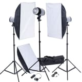 Set 3 flash foto strobo 120W, softbox 50 x 70 cm., stativi