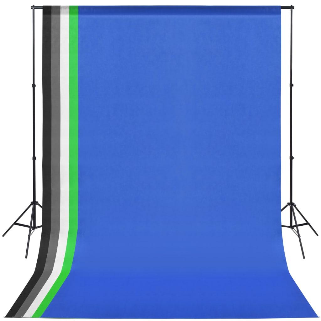 Afbeelding van vidaXL Fotostudio set met 5 achtergronden en verstelbaar frame