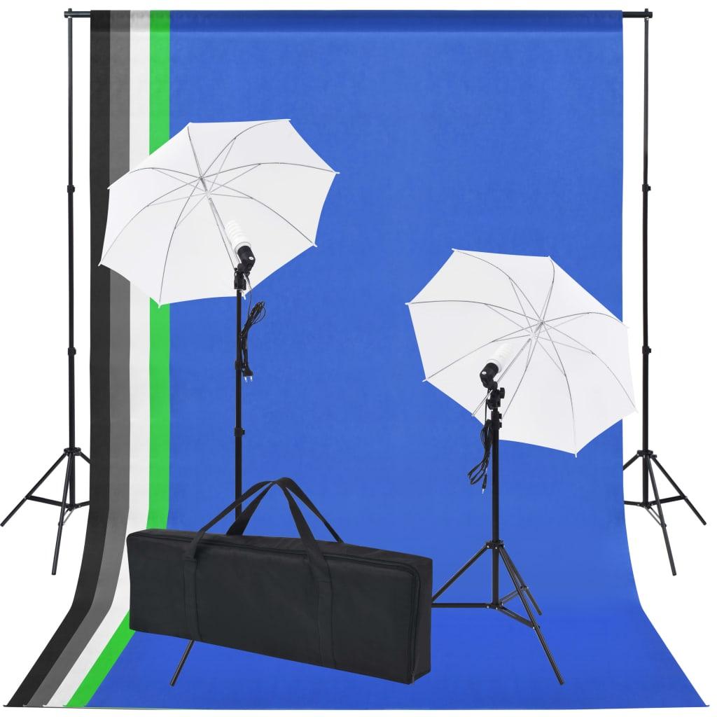 Afbeelding van vidaXL Fotostudio set met 5 gekleurde achtergronden & 2 paraplu's