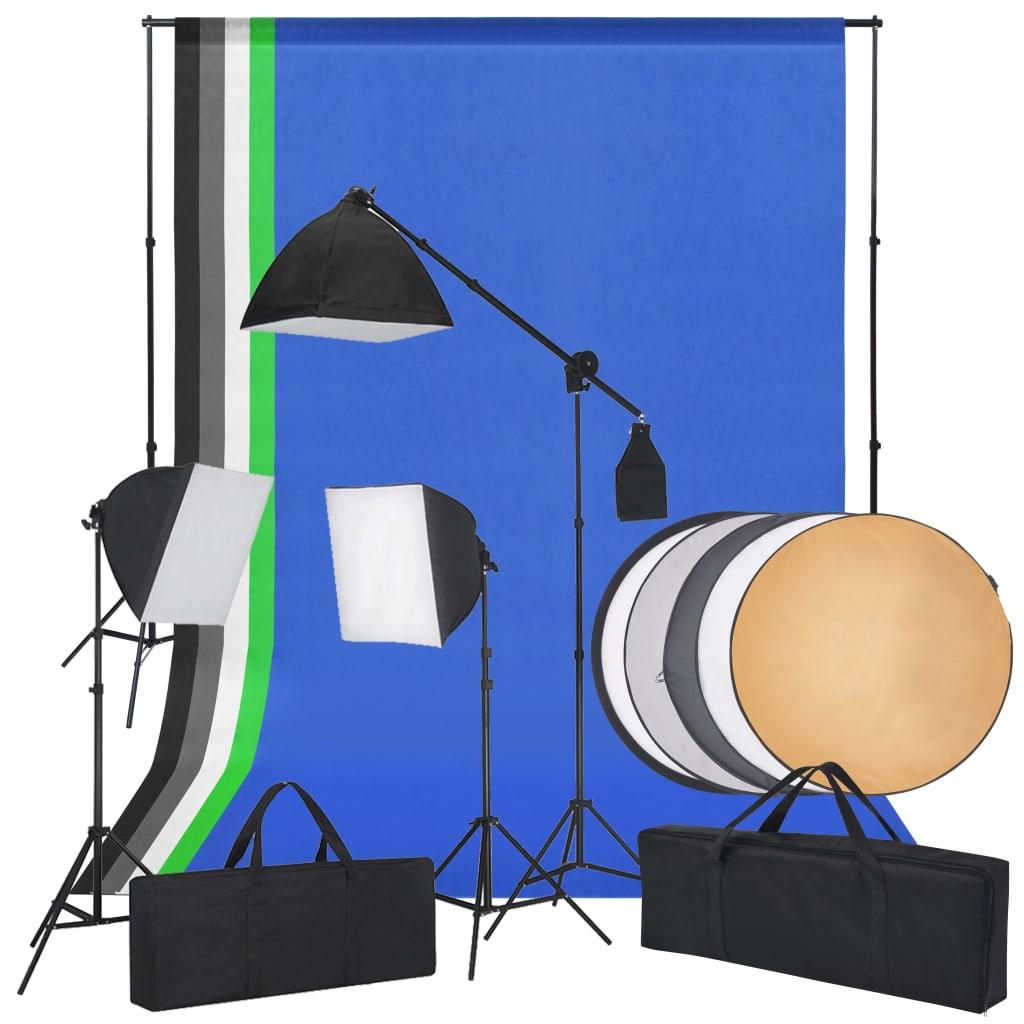 Afbeelding van vidaXL Fotostudioset met softbox lampen, achtergronden en reflector