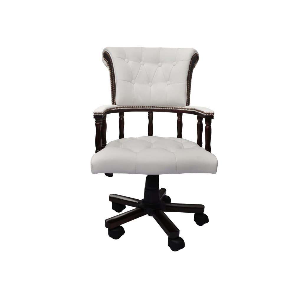 chesterfield captains swivel office chair white