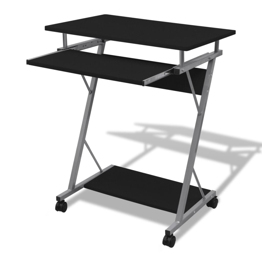 Computer Desk Pull Out Tray Black Furniture Office Student
