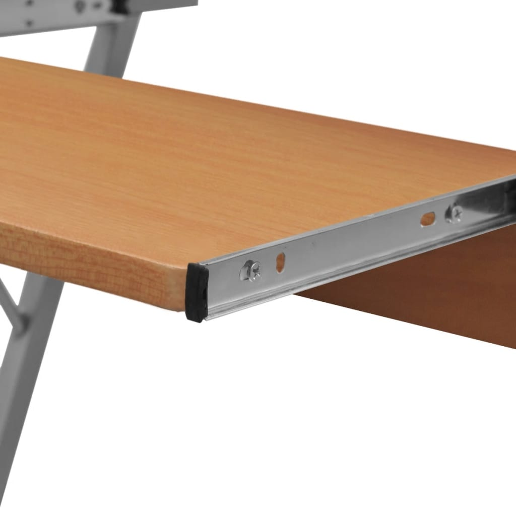 Vidaxl Co Uk Computer Desk Pull Out Tray Brown Furniture